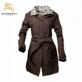 Burberry Manteau Zippe Veste Femme Couble Col Manches Longues Marron Uni Shop Online