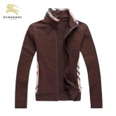 Burberry Marron Col Montant Veste Femme Zippe Uni Sweat Manches Longues Trench Occasion