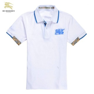 Burberry Polo Manches Courte Uni T Shirt Homme Blanc Maquillage