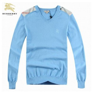 Burberry Pull Homme Col V Manches Longue Pullover Bleu Factory Shop