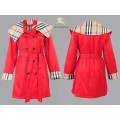 Burberry Rouge Manteau Manches Longues Uni Veste Femme Polo Boutons Official Website