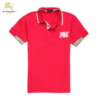 Burberry T Shirt Homme Polo Rouge Manches Courte Foulard