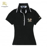 Burberry Uni Noir Manches Courte Polo T Shirt Femme Factory Outlet