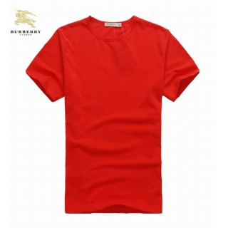 Burberry Rouge T Shirt Homme Uni Col Rond Manches Courte Official Website