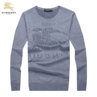 Burberry Col Rond Uni Pullover Manches Longue Pull Homme Gris Soldes Boutique