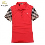 Burberry Manches Courte Rouge Uni Polo T Shirt Femme Magasin Paris