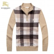 Burberry Beige Manches Longue Pull Homme Pullover Col Montant Poussette