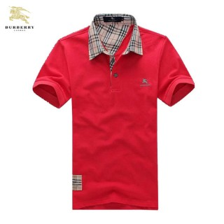 Burberry Polo T Shirt Homme Manches Courte Uni Rouge Portefeuille