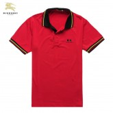 Burberry Rouge Uni T Shirt Homme Polo Manches Courte Foulard Solde