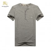Burberry Col V T Shirt Homme Manches Courte Uni Gris Trench Prix