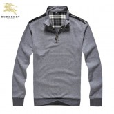 Burberry Gris Manches Longue Col Montant Pullover Pull Homme Porte Feuille