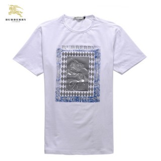 Burberry Serigraphie Blanc Col Rond Manches Courte T Shirt Homme Soldes Londres
