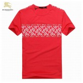 Burberry T Shirt Homme Manches Courte Rouge Col Rond Portefeuille