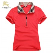 Burberry T Shirt Femme Rouge Manches Courte Uni Polo Magasin France