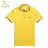 Burberry T Shirt Homme Uni Manches Courte Jaune Polo Outlet