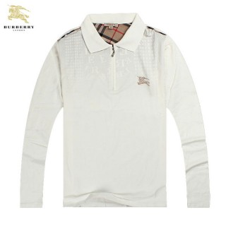 Burberry Polo Manches Longue T Shirt Homme Blanc Logo Online Store