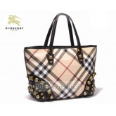 Burberry Smoked Check Sacs Tote Sac Femme Gris Poussette