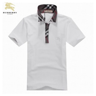Burberry T Shirt Homme Uni Blanc Polo Manches Courte Cravate