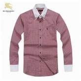 Burberry 2017 Rouge Manches Longue Chemise Homme Rayures Outlet Store Online