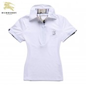 Burberry 2026 Manches Courte Uni Polo T Shirt Femme Blanc Cravate