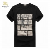 Burberry 2027 Noir Manches Courte Serigraphie T Shirt Homme Col Rond Portefeuille