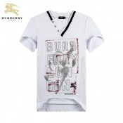 Burberry 2030 Serigraphie T Shirt Homme Manches Courte Blanc Col V Veste Reversible