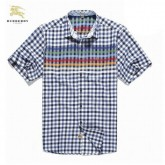 Burberry Chemise Homme Manches Courte Bleu Outlet