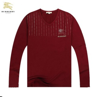 Burberry Manches Longue T Shirt Homme Rouge Col V Logo Duffle Coat