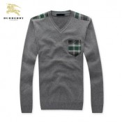 Burberry Manches Longue Pull Homme Pullover Gris Soldes Londres
