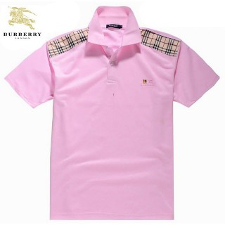 Burberry T Shirt Homme Uni Manches Courte Polo Rose Foulard Soie